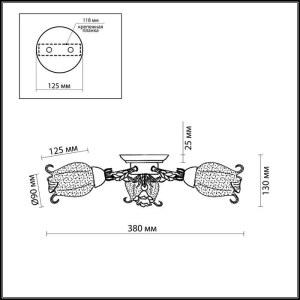 Схема Люстра потолочная - 2252/3C  в стиле Флористика