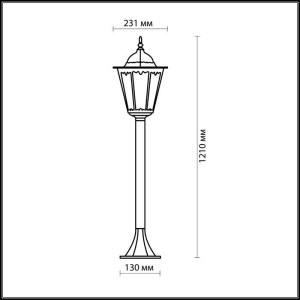 Схема Уличный светильник 150 см - 2322/1F  в стиле Классика