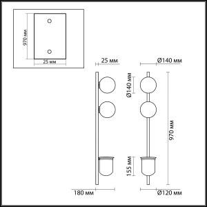 Схема Настенный светильник - 4681/2WA  в стиле Модерн