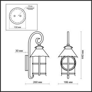 Схема Уличный настеный светильник - 2312/1W  в стиле Модерн