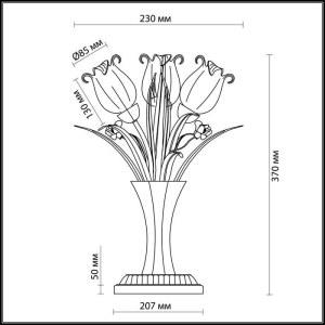 Схема Настольная лампа - 2652/3T  в стиле Флористика