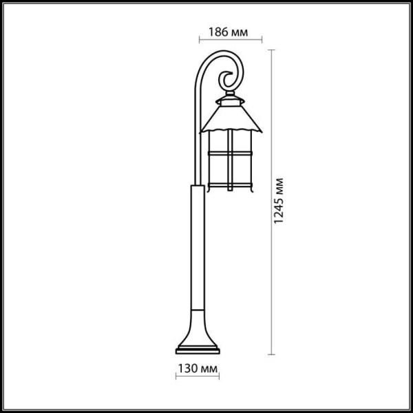Схема Уличный светильник 150 см - 2314/1F  в стиле Модерн