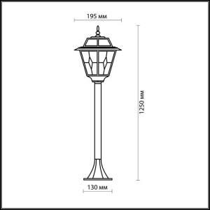 Схема Уличный светильник 150 см - 2318/1F  в стиле Классика