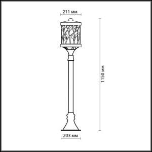 Схема Уличный светильник 150 см - 2287/1A  в стиле Модерн