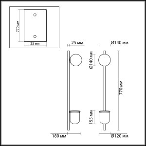 Схема Настенный светильник - 4682/1WB  в стиле Модерн