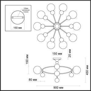 Схема Люстра потолочная - 3953/10C  в стиле Модерн