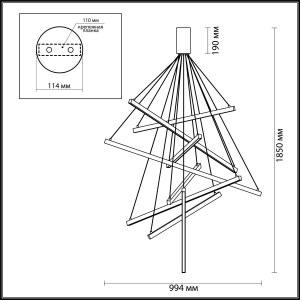 Схема Люстра - 3860/96L  в стиле Хай-тек