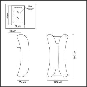 Схема Настенный светильник - 3886/6WG  в стиле Хай-тек