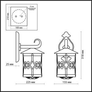 Схема Уличный настеный светильник - 2311/1W  в стиле Классика