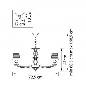 Чертеж 690082 (MD000011-8) Люстра подв RAMO 8х40W E14 ТЕМНОЕ ЗОЛОТО (в комплекте)