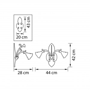 Чертеж 696622 (MB00078-2) Бра ROSATA 2х60W E14 ЗОЛОТО (в комплекте)