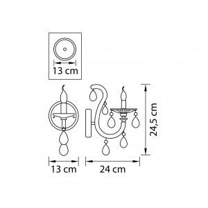 Чертеж 698615 (MB00072-1) Бра CHAMPA BLU 1х60W E14 ГОЛУБОЙ (в комплекте)