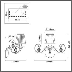 Схема Бра - 3921/1W  в стиле Элегант