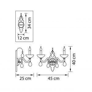 Чертеж 719628 (MB55170/2) Бра ARTIFICI 2x60W E14 МЕДЬ/ПРОЗРАЧНЫЙ (в комплекте)