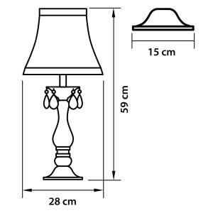 Чертеж 726911 (MT100007-1) Настольная лампа PRINCIA 1х40W E27 БЕЛЫЙ/ПРОЗРАЧНЫЙ (в комплекте)