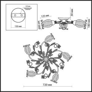 Схема Люстра потолочная - 2252/5C  в стиле Флористика