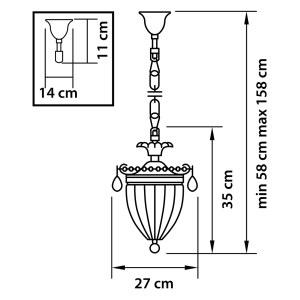 Чертеж 790031 (MD300027-3)  Люстра SCHON 3x60W E14 Bronze (в комплекте)