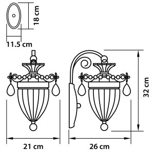 Чертеж 790614 (MB300026-1)  Бра SCHON 1x60W E14 Silver (в комплекте)