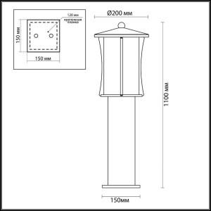 Схема Уличный светильник 110см IP33 - 4173/1F  в стиле Модерн