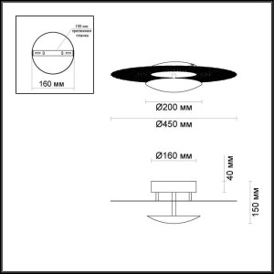 Схема Настенно-потолочный светильник - 3559/24L  в стиле Хай-тек
