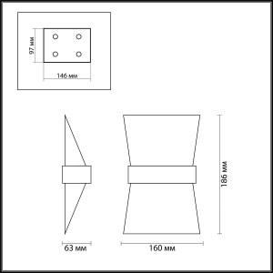 Схема Настенный светильник - 3835/7WL  в стиле Хай-тек