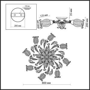 Схема Люстра потолочная - 2252/8C  в стиле Флористика