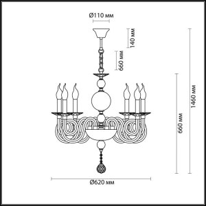 Схема Люстра - 4601/6  в стиле Классика