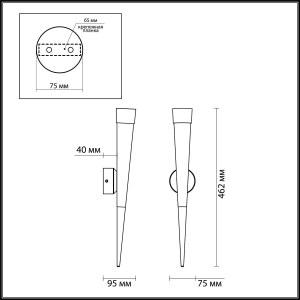 Схема Настенный светильник - 3891/7WG  в стиле Хай-тек