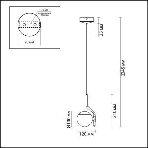 Схема Подвесной светильник - 3914/9L  в стиле Хай-тек