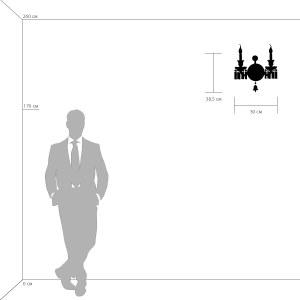 716624 (MD000010-2) Бра CAMPANA 2х60W E14 ХРОМ (в комплекте) схема в масштабе