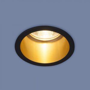 7004 MR16 / Светильник встраиваемый BK/GD черный/золото a036622