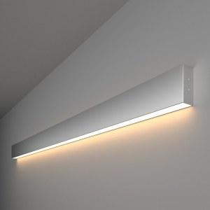 101-100-30-128 / Линейный светодиодный накладной односторонний светильник 128см 25W 3000K матовое серебро a041483