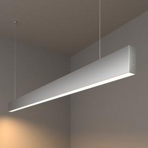 101-200-30-128 / Линейный светодиодный подвесной односторонний светильник 128см 25W 3000K матовое серебро a041495