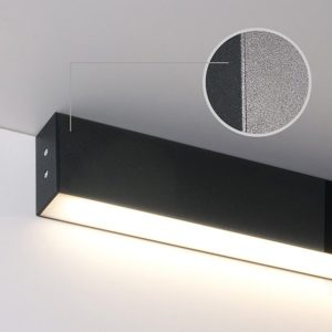 101-100-30-53 / Линейный светодиодный накладной односторонний светильник 53см 10W 3000K черная шагрень a042936
