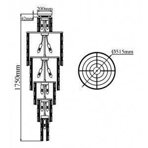 Схема Потолочная люстра DIA003-PT50-G в стиле классический