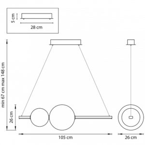 Схема Подвесной светильник 815336 в стиле модерн