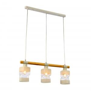 SLE114503-03 Светильник подвесной Белый, Светлое дерево/Белый, Прозрачный E27 3*60W